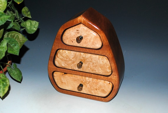 Wooden Jewelry Box With Drawers of Maple Burl and Mahogany  - Our Pod Style Box by BurlWoodBox - Nice Small Box for Jewelry or Storage
