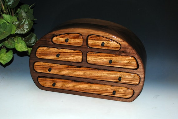 Large Walnut Wooden Jewelry Box With Zebrawood  by BurlWoodBox - Handmade in the USA by Al & Deb