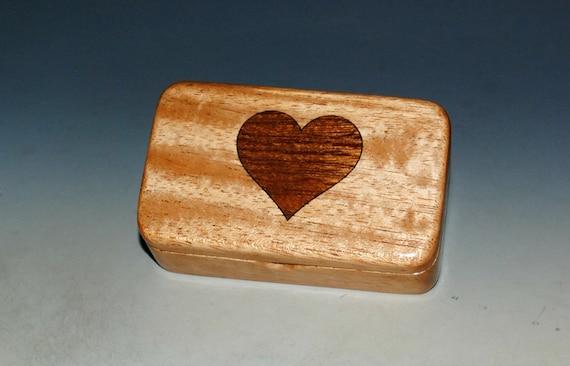Heart Inlay Mahogany Wooden Box - Handmade Tiny Wood Box by BurlWoodBox - Perfect For A Small Gift - USA Made