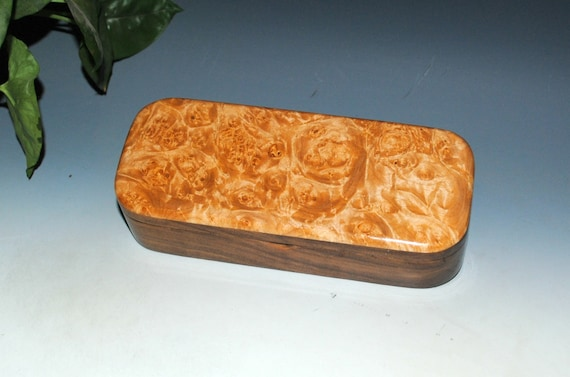 Wood Pen Box of Maple Burl on Walnut by BurlWoodBox - Handmade Hinged Lid Box For Your Desk, as a Gift or a Jewelry Box