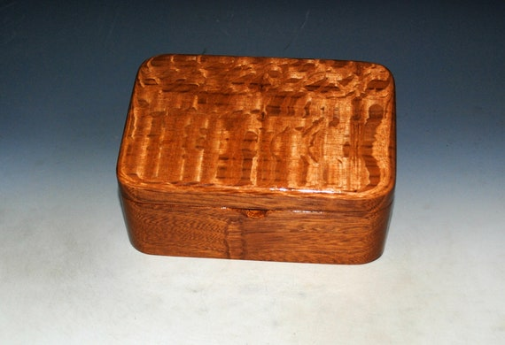 Wooden Box with Hinged Lid and Tray in Mahogany and Lacewood - Handmade in the USA by BurlWoodBox