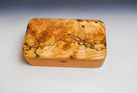Wooden Box of Spalted Maple on Cherry - Handmade by BurlWoodBox - Small Stash, Treasure or Jewelry Box