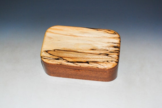 Wooden Trinket Box With Hinged Lid of Spalted Elm on Mahogany- USA Made Small Wood Jewelry Box