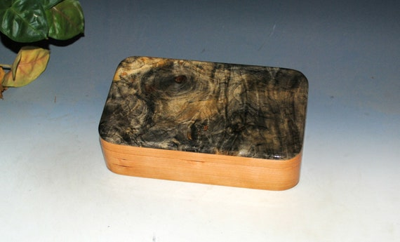 Handmade Wood Box With Hinged Lid of Buckeye Burl on Cherry - Small Stash or Jewelry Box