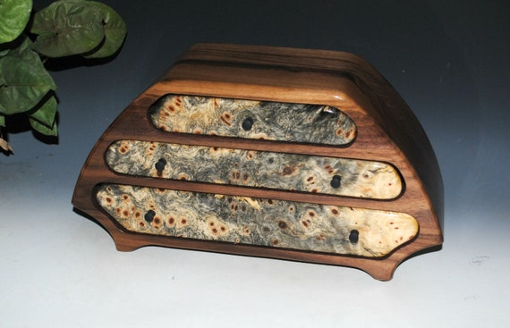 Wooden Jewelry Box of Walnut and Buckeye Burl in Our Katie Style - A Unisex Jewelry Box With Drawers by BurlWoodBox