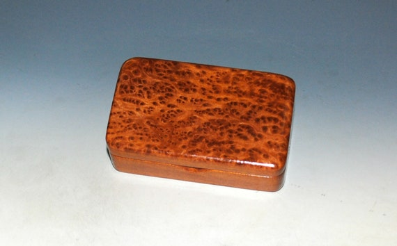 Tiny Wooden Box of Mahogany & Redwood Burl Handmade by BurlWoodBox