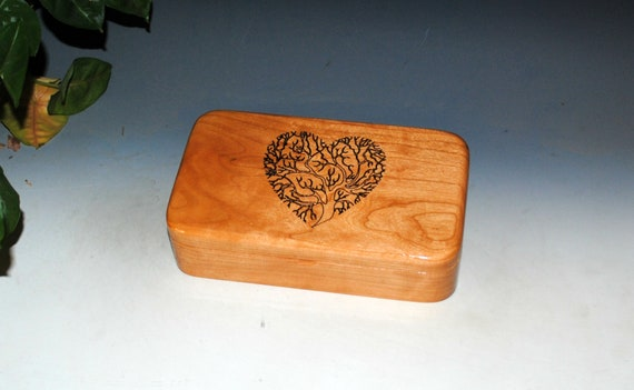 Wooden Box of Cherry With Engraved Tree of Life As a Heart- Small Stash Box or Jewelry Box - Sacred Tree