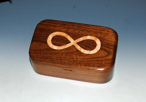 Wooden Box of Walnut With Curly Maple Infinity Inlay - Handmade Symbolic Wood Box With Hinged Lid by BurlWoodBox