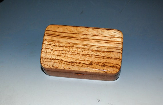 Very Small Wooden Box of Mahogany With Zebrawood by BurlWoodBox - Handmade in the USA - Great Gift!