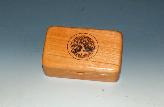 Tree of Life Small Wooden Box of Cherry - Handmade in The USA by BurlWoodBox - Engraved Tiny Wood Box