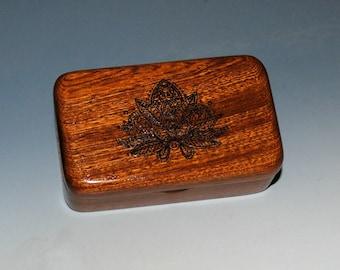 Small Wooden Box With a Lotus engraving in Mahogany - Tiny Wood Box by BurlWoodBox