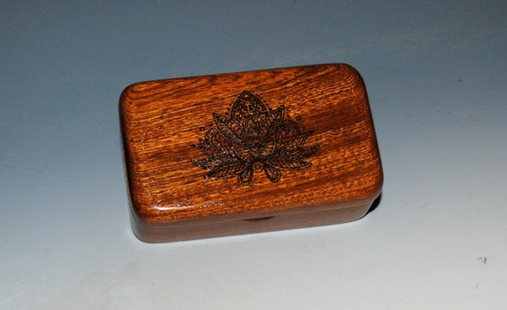 Small Wooden Box With a Lotus engraving in Mahogany - Tiny Wood Box by BurlWoodBox