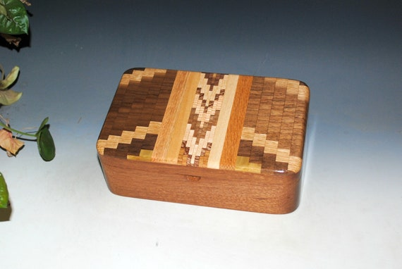 Wooden Stash Box of Mahogany with Upcycled Cutting Board Handmade by BurlWoodBox - Unique Gift!