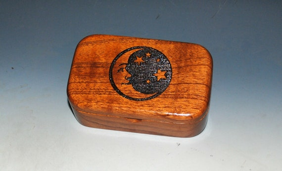 Small Wooden Box With Moon & Stars  Engraved on Mahogany - Handcrafted Wood Box by BurlWoodBox - Excellent Gift !