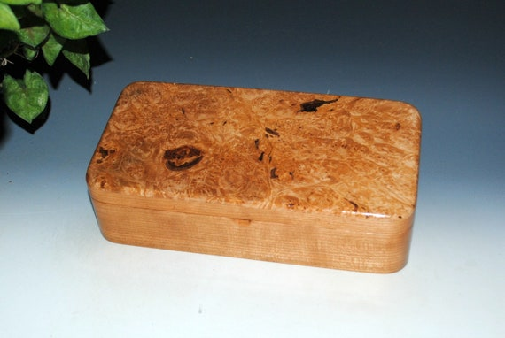 Wooden Box With Hinged Lid and Tray of Maple Burl on Cherry by BurlWoodBox - Unique Gift