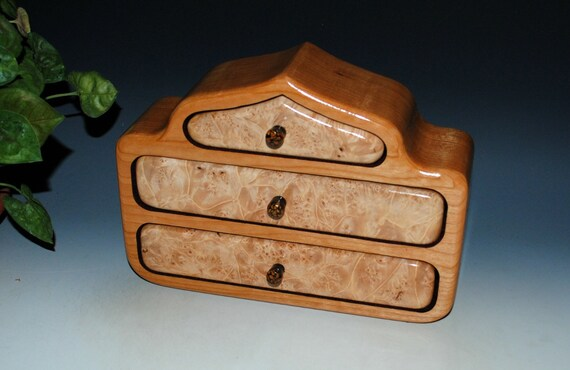 Maple Burl on Cherry Three Drawer Wood Jewelry Box in Out Pagoda Style - Handmade in The USA by BurlWoodBox