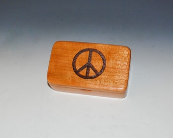 Small Wooden Box With Peace Sign Engraved on Cherry - Hinged Lid Handmade Tiny Wood Box - Small Gift Box