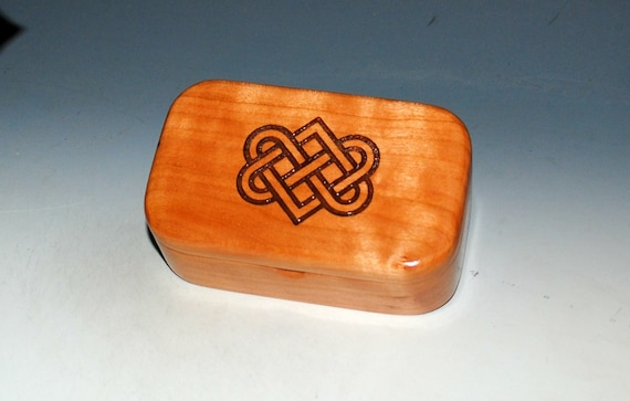 Celtic Love Knot Box of Cherry -  Handmade Wooden Trinket Box With Entwined Hearts by BurlWoodBox - Irish Wedding Hearts