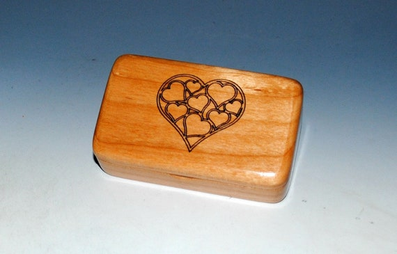 Small Wooden Box With Engraved Hearts on Alder - Handmade in The USA by BurlWodBox - Perfect For USB Thumb Drives or Jewelry Gifts