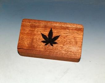 Slide Top Wood Box With Cannabis Leaf Engraved Slide of Mahogany - Food Safe Finish - Small Gift Box - Thumb Drive Box