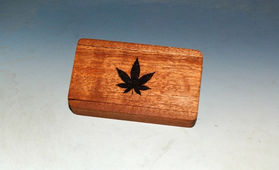Slide Top Wood Box of Mahogany With Cannabis Leaf Engraved Slide - Food Safe Finish