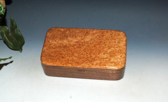 Wooden Box of Maple Burl on Walnut - Small Handmade Stash Box by BurlWoodBox With Hinged Lid