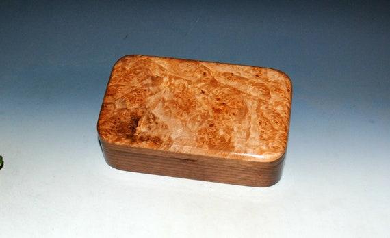 Wood Treasure Box of Walnut and Maple Burl - Handmade Wooden Box With Hinged Lid by BurlWoodBox