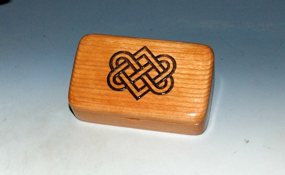 Small Wooden Box With Engraved Celtic Wedding Hearts on Cherry - Handmade Wood Box by BurlWoodBox - Irish Wedding Hearts