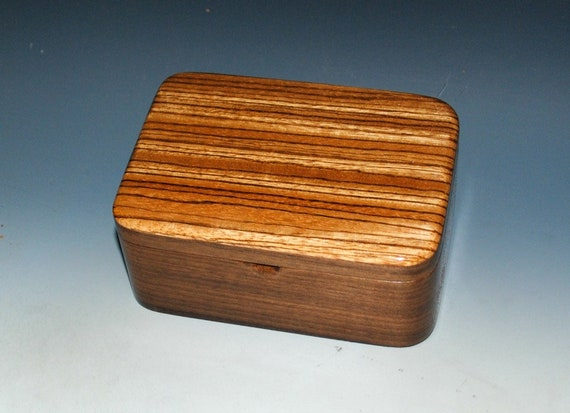 Handmade Small Tray Wooden Box of Walnut and Zebrawood by BurlWood Box - A Perfect Gift !