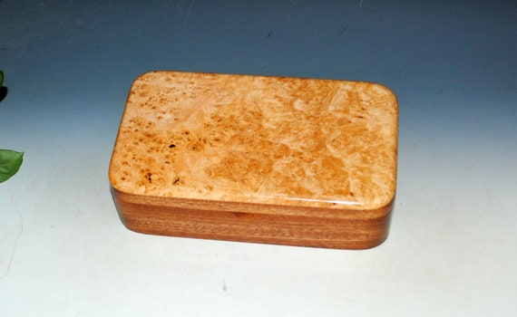Wooden Box Of Maple Burl on Mahogany With Hinged Lid - Handmade In America by BurlWoodBox