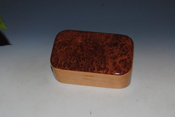 Wooden Trinket Box of Redwood Burl on Cherry by BurlWoodBox - Unique Handmade Christmas Gift !