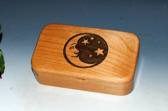 Wooden Box - Moon and Stars Engraved Alder Wood Treasure Box - Handmade by BurlWoodBox
