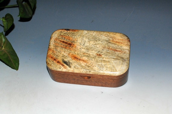 Wooden Trinket Box of Buckeye Burl on Mahogany by BurlWoodBox - Handmade in the USA