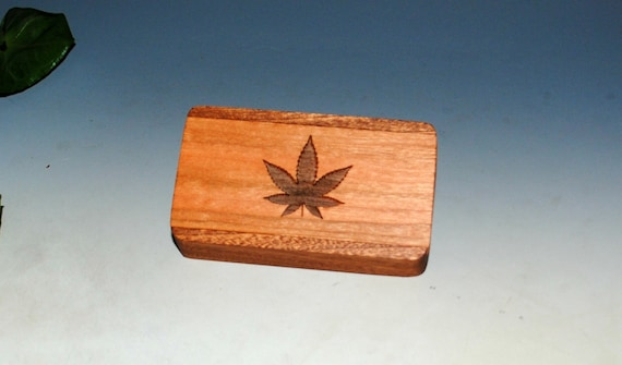 Slide Top Wood Box of Mahogany With Cherry Cannabis Leaf Slide - Food Safe Finish