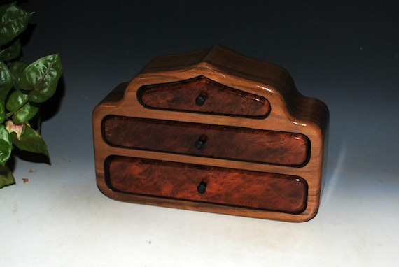 Wood Jewelry Box of Redwood Burl on Walnut in Our Pagoda Style - Handmade Wooden Jewelry Box With Drawers By BurlWoodBox
