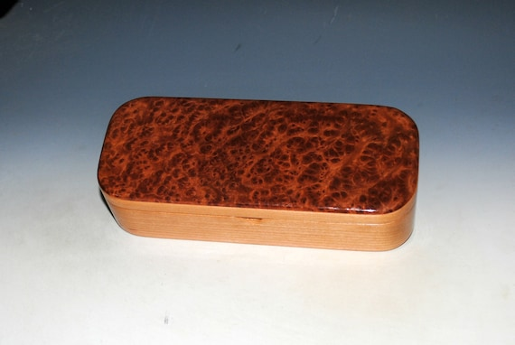 Wooden Pen Box of Redwood Burl on Cherry -  Handmade Wood Box With Lid by BurlWoodBox