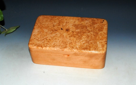 Wooden Stash Box of Cherry and Maple Burl - Handmade Wood Box With Hinged Lid by BurlWoodBox - Storage for Jewelry, Treasures or  Keepsakes