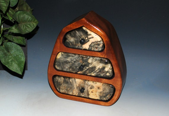 Wood Jewelry Box - Wooden Jewelry Box - Pod Style in Buckeye Burl on Mahogany- Handmade Jewelry Box, Art Jewelry Box, Small Jewelry Box, Box