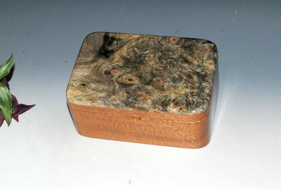 Handmade Wooden Box with Tray - Wood Box- Mahogany & Buckeye Burl- Jewelry Box, Desk Box, Small Wood Box, Keepsake Box-Gift Box-Handmade Box