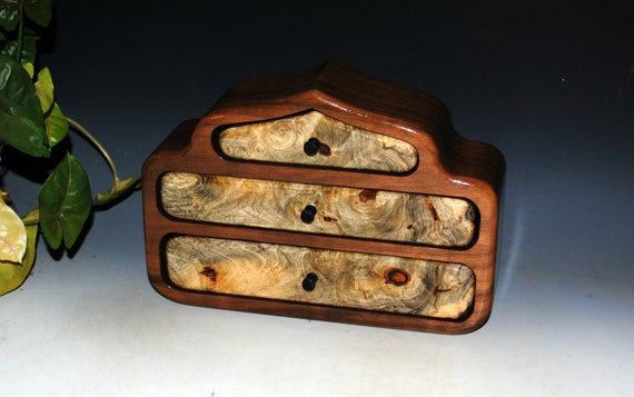 Wooden Jewelry Box - Pagoda Style of Buckeye Burl on Walnut - Handmade Wood Box With Drawers