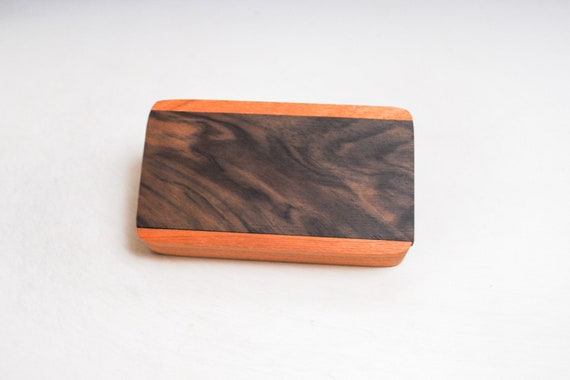 Slide Top Small Wood Box of Cherry With Figured Walnut - USA Made by BurlWoodBox With a Food Safe Finish