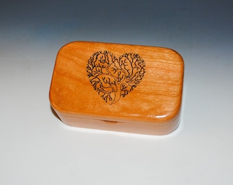 Wooden Box of Cherry With Engraved Tree of Life as a Heart - Handmade Box With Lid by BurlWoodBox - Sacred Tree