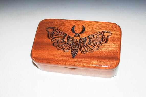 Death Head Moth Engraved Mahogany Wood Treasure Box - Handmade Wooden Box Made in the USA by BurlWoodbox, Dead Head Moth, Box With Skull