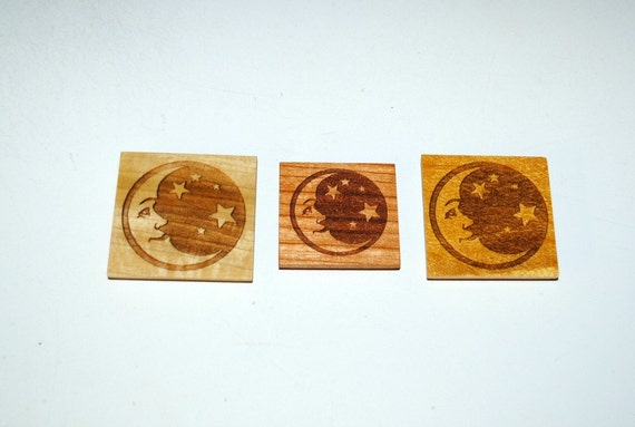 Moon Star Magnets on 3 Different Woods - Laser Engraved Magnet - Recycled or Upcycled Wood- Refrigerator Magnets-Small Gifts - Free Shipping