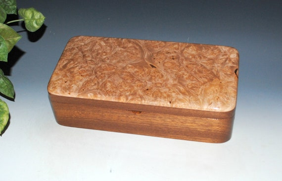 Wooden Box With Tray of Maple Burl on Mahogany - Handmade Box With Hinged Lid by BurlWoodBox