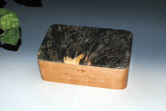 Wooden Stash Box of Cherry with Buckeye Burl - Handmade Wood Box With Hinged Lid by BurlWoodBox - A USA Made Unique Gift !