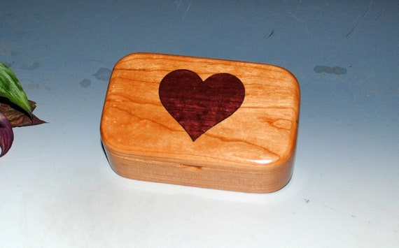 Wooden Heart Box of Cherry & Purple Heart - Inlay Heart Trinket Box Handmade by BurlWoodBox - Perfect For a Gift, Storage of Small Jewelry