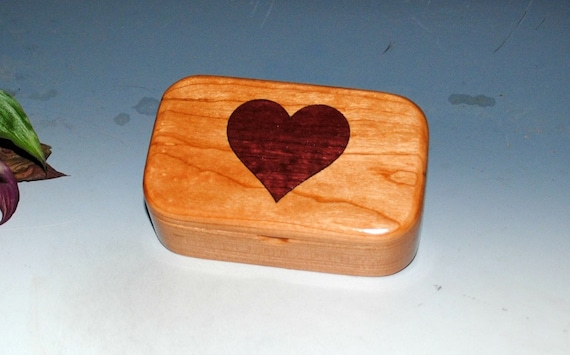 Wooden Heart Box - Wood Box of Cherry & Purple Heart - Treasure Box, Keepsake Box, Memory Box, Jewelry Box, Wood Gift Box-Handmade Small Box