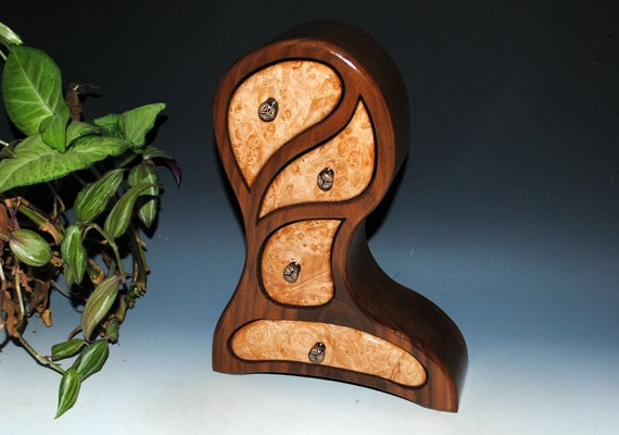 Handmade Wooden Jewelry Box - Maple Burl on Walnut  Picasso Style - Art With Function -Wood Jewelry Box, Handmade Box, Wooden Box, Wood Gift