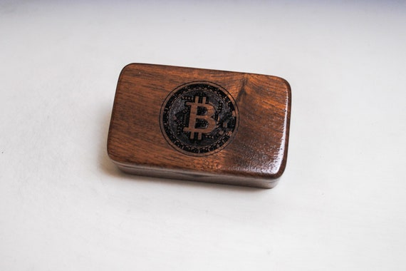 Small Wooden Box With Bitcoin Engraved on Walnut - Handmade Wood Box by BurlWoodBox - Cryptocurrency, Bitcoin Storage Box